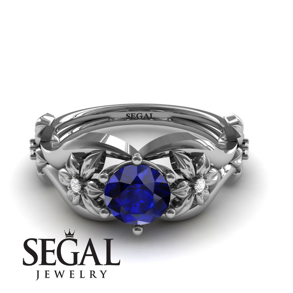 The 4th Season Flower Ring Blue Sapphire Ring- Lauren no. 6
