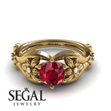 The 4th Season Flower Ring Ruby Ring- Lauren no. 7