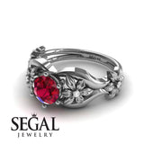 The 4th Season Flower Ring Ruby Ring- Lauren no. 9