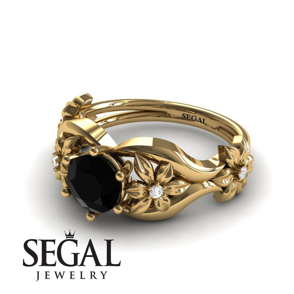 The 4th Season Flower Ring Black Diamond Ring- Lauren no. 10