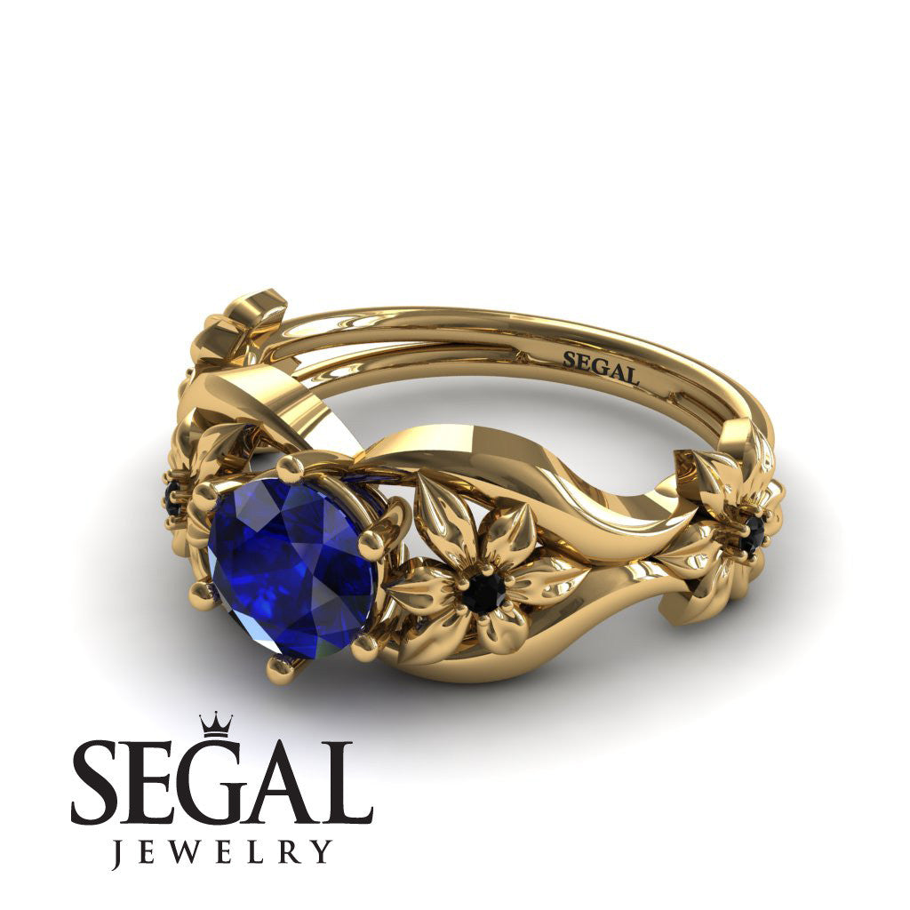 The 4th Season Flower Ring Blue Sapphire Ring- Lauren no. 13