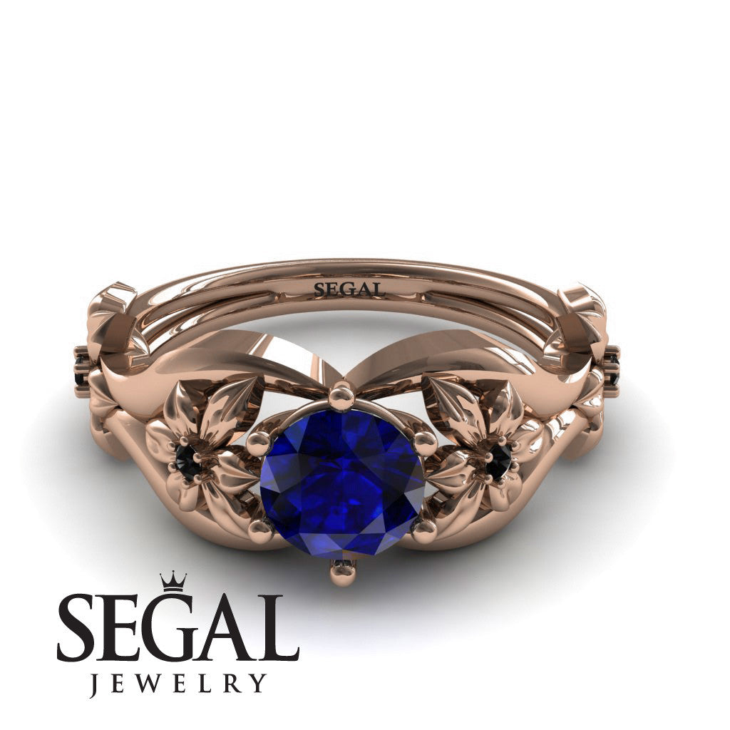 The 4th Season Flower Ring Blue Sapphire Ring- Lauren no. 14