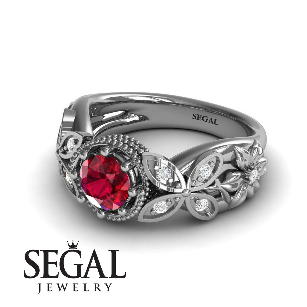 Mounted Circle Rounds Ruby Ring- Vivian no. 6