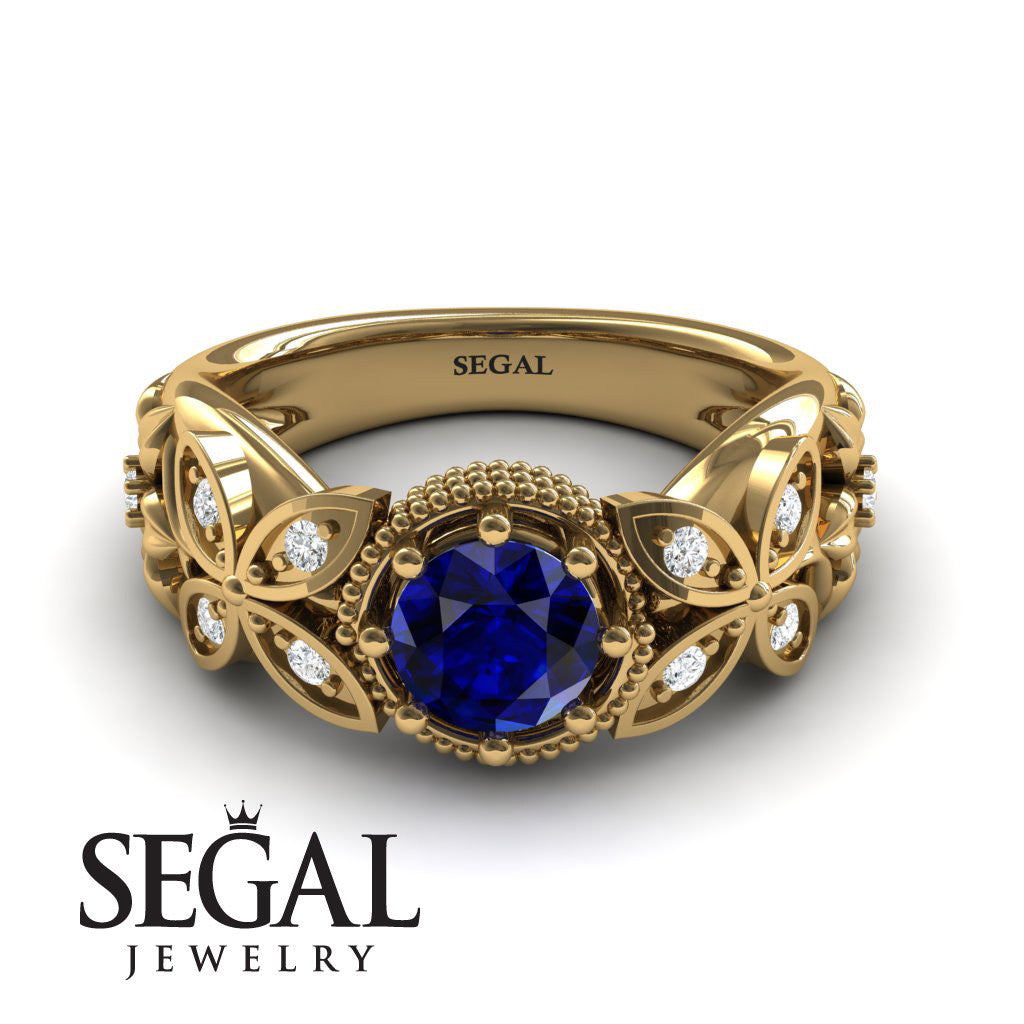 Mounted Circle Rounds Blue Sapphire Ring- Vivian no. 7
