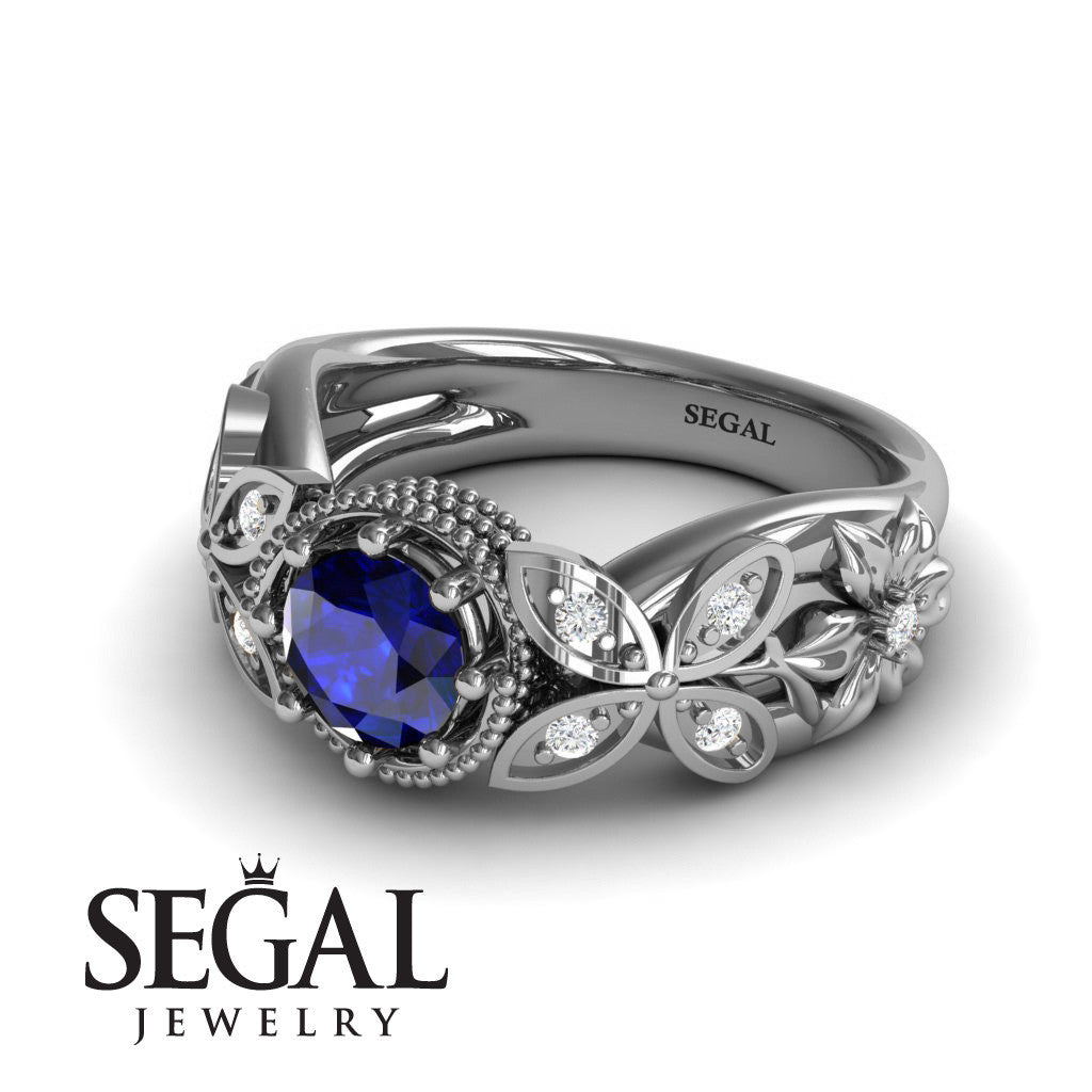Mounted Circle Rounds Blue Sapphire Ring- Vivian no. 9