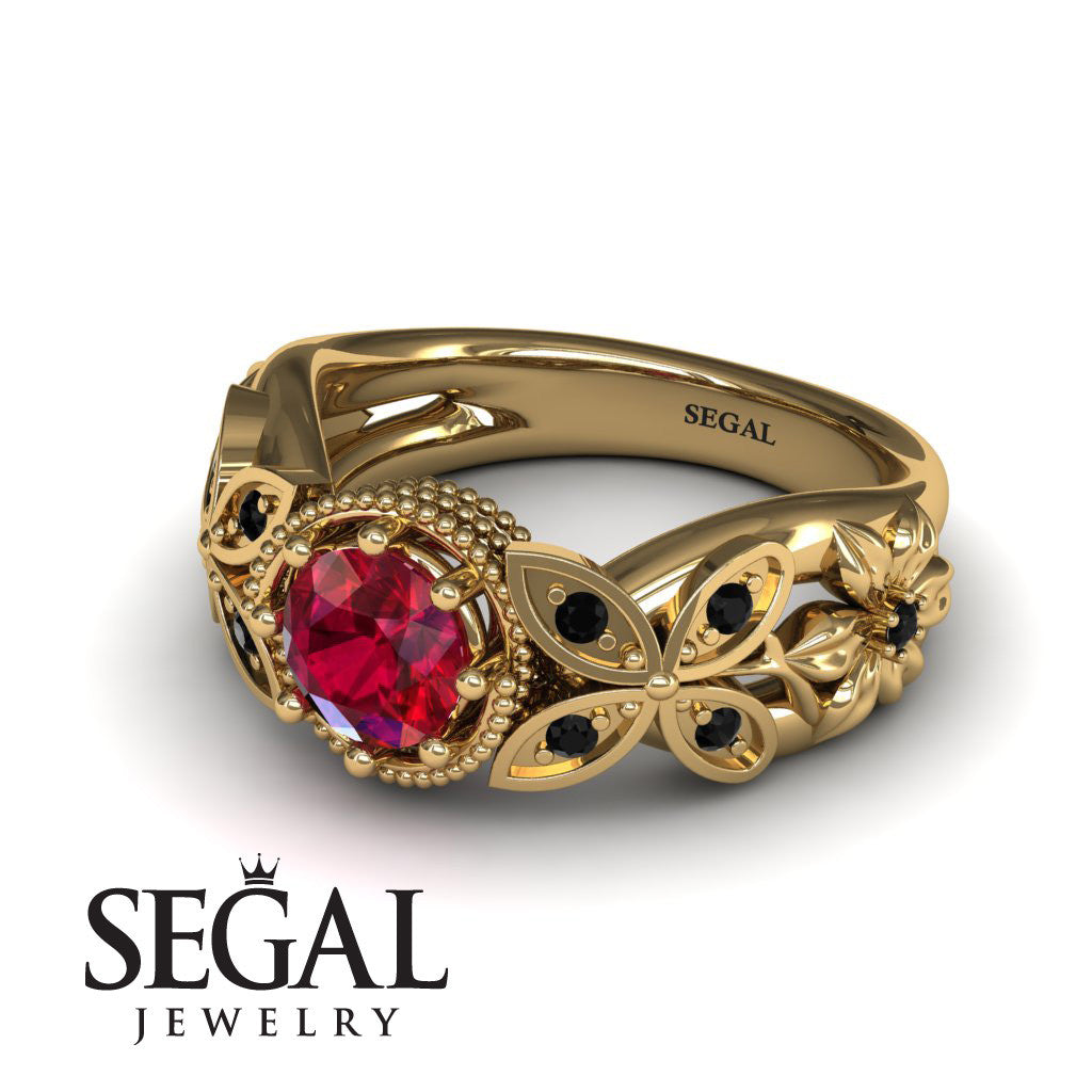 Mounted Circle Rounds Ruby Ring- Vivian no. 16