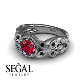 Mounted Circle Rounds Ruby Ring- Vivian no. 18