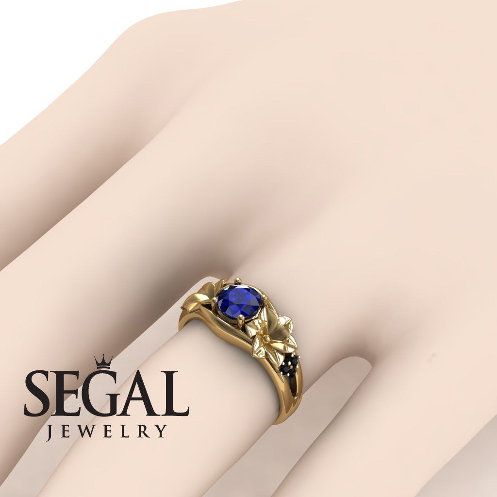 Narcissus Trilogy Blue Sapphire Ring- Blossom no. 13