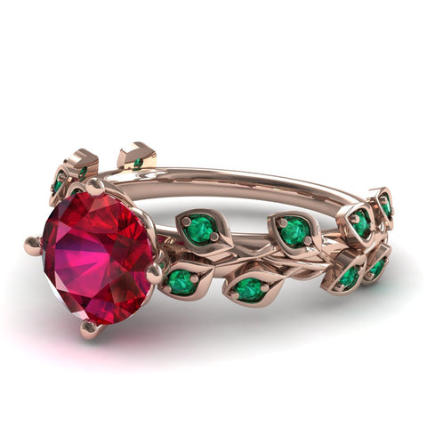 Leafs All Around Ruby Ring- Sydney 2ct