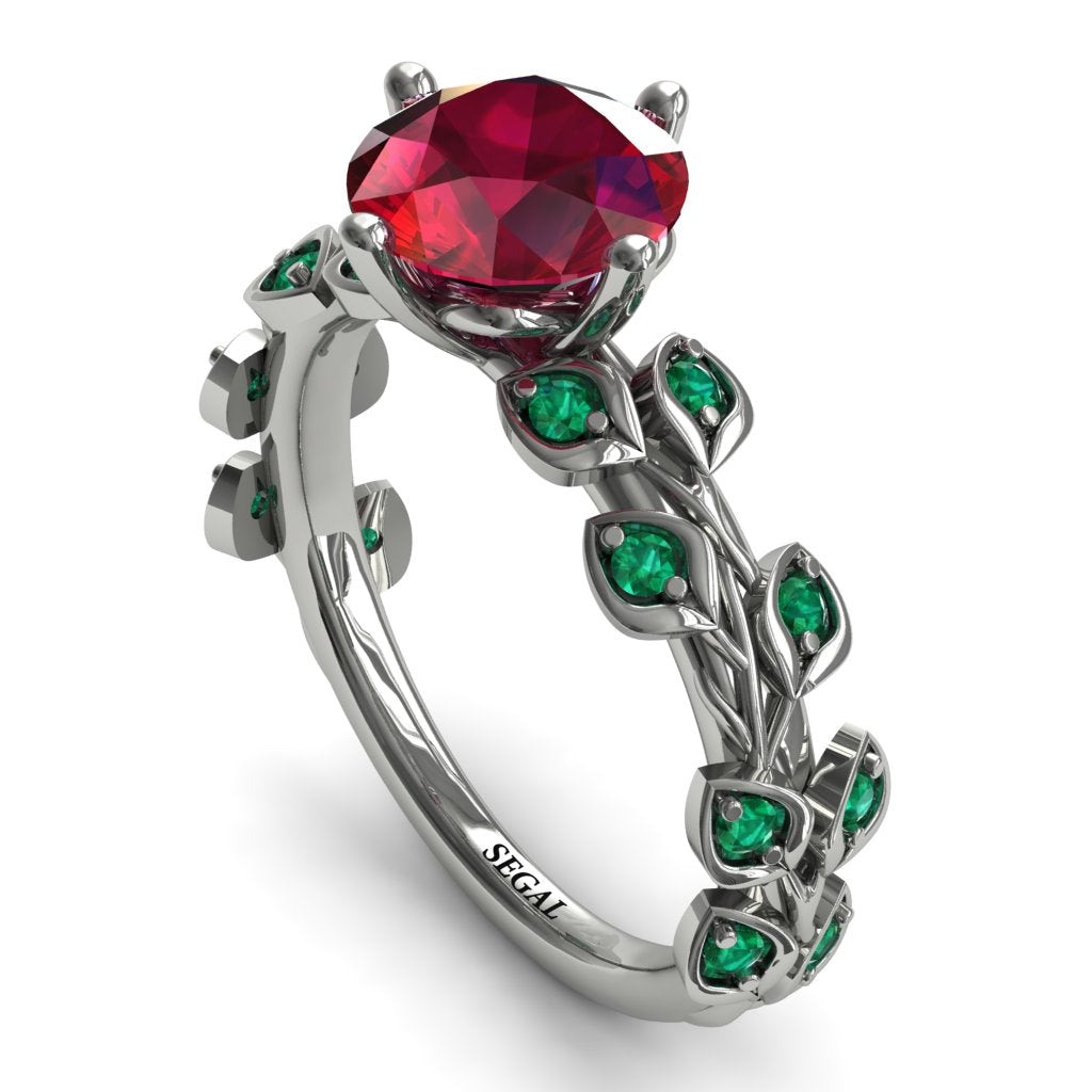 Leaves All Around White Gold Ruby Ring - Sydney 2ct