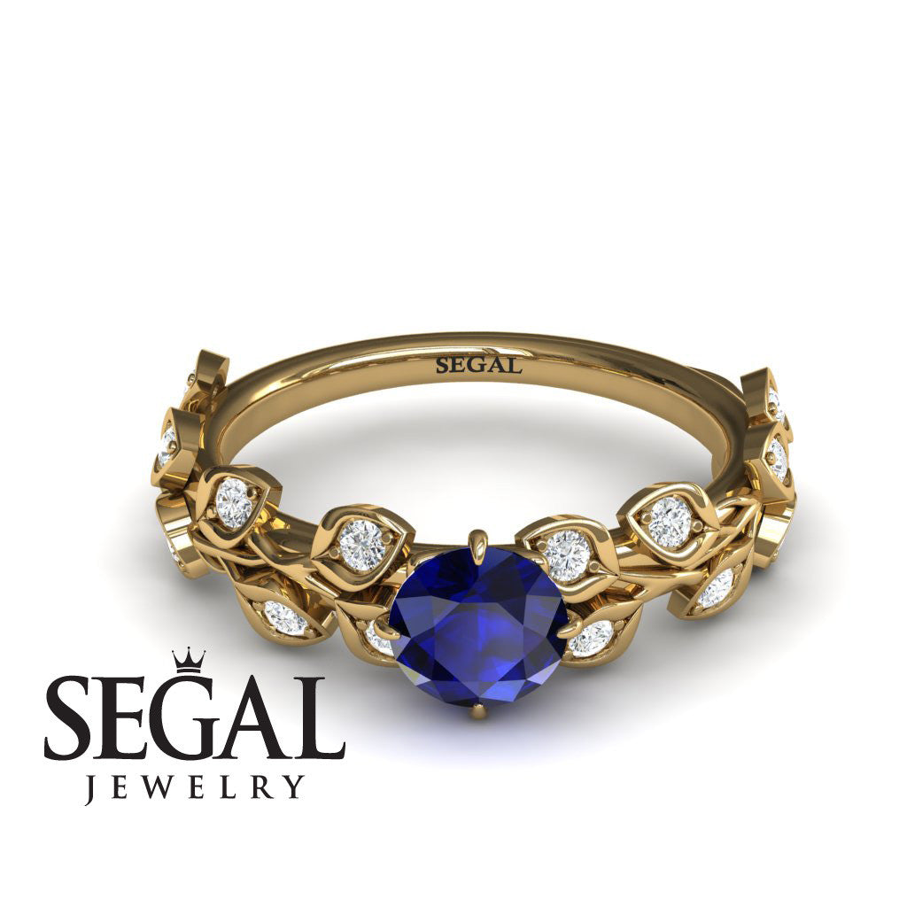 Leaves All Around Blue Sapphire Ring- Sydney no. 7