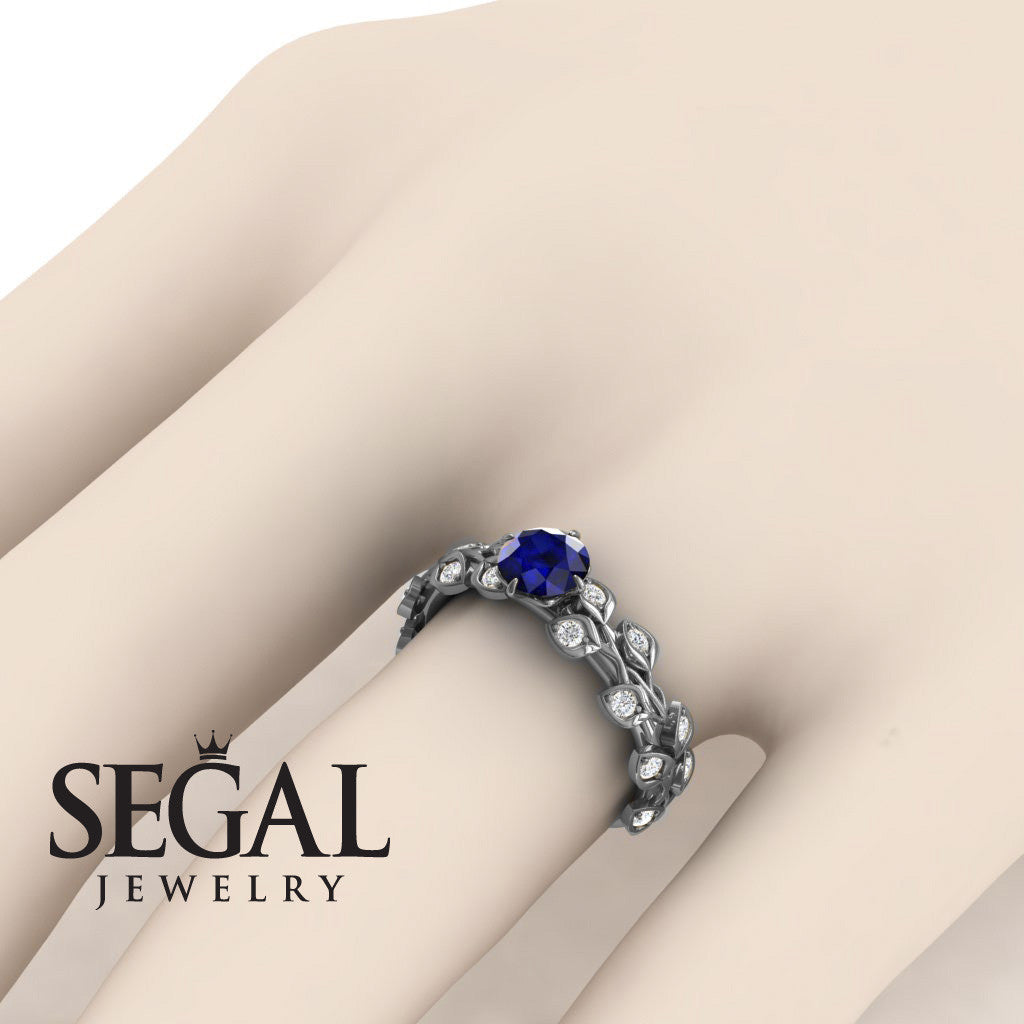 Leaves All Around Blue Sapphire Ring- Sydney no. 9