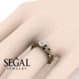 Leaves All Around Floral Engagement Diamond Ring - 14K Yellow Gold - Sydney no. 13