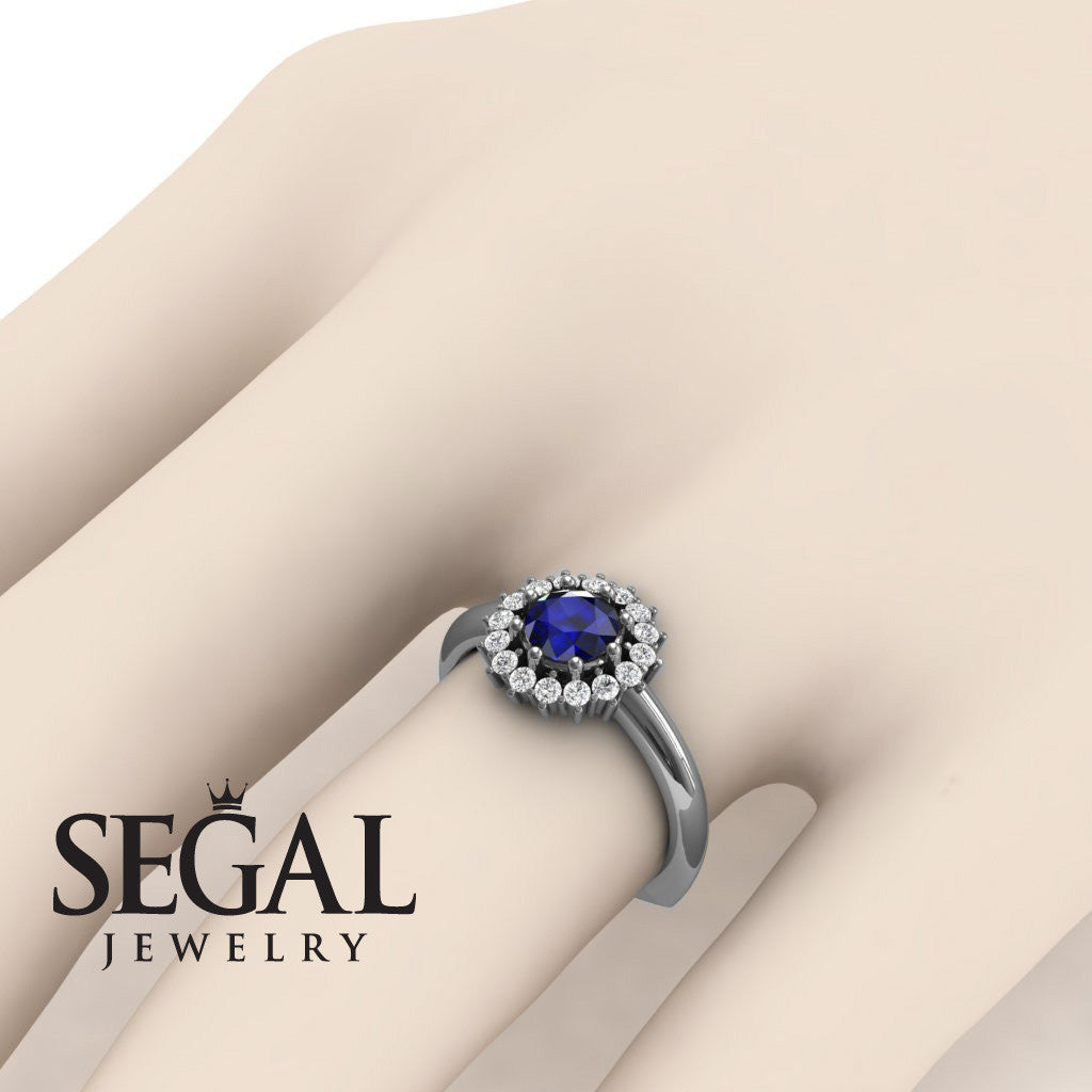 Halo's Vintage Blue Sapphire Ring- Clara no. 12