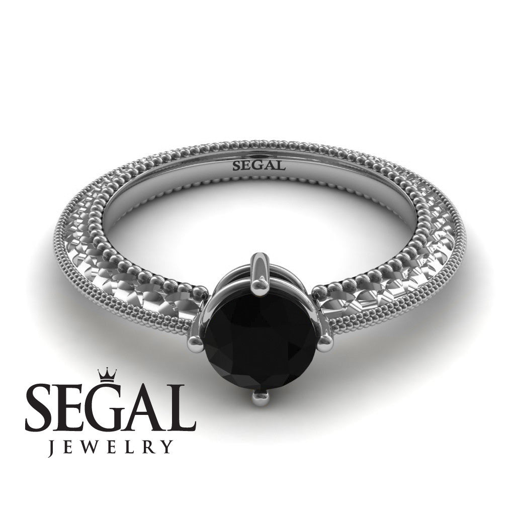 The Slim Edwardian Black Diamond Ring- Alexandra no. 9