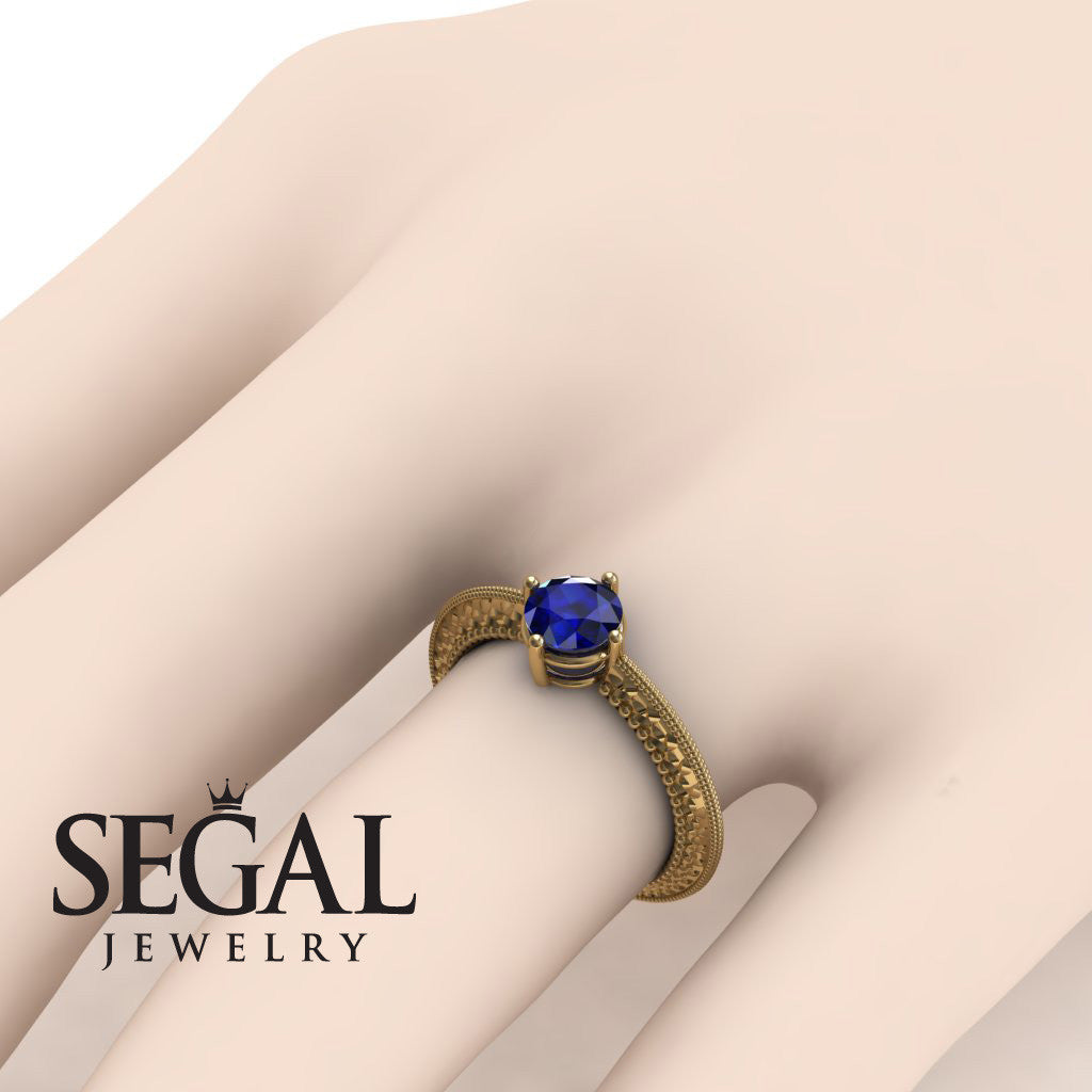 The Slim Edwardian Blue Sapphire Ring- Alexandra no. 13