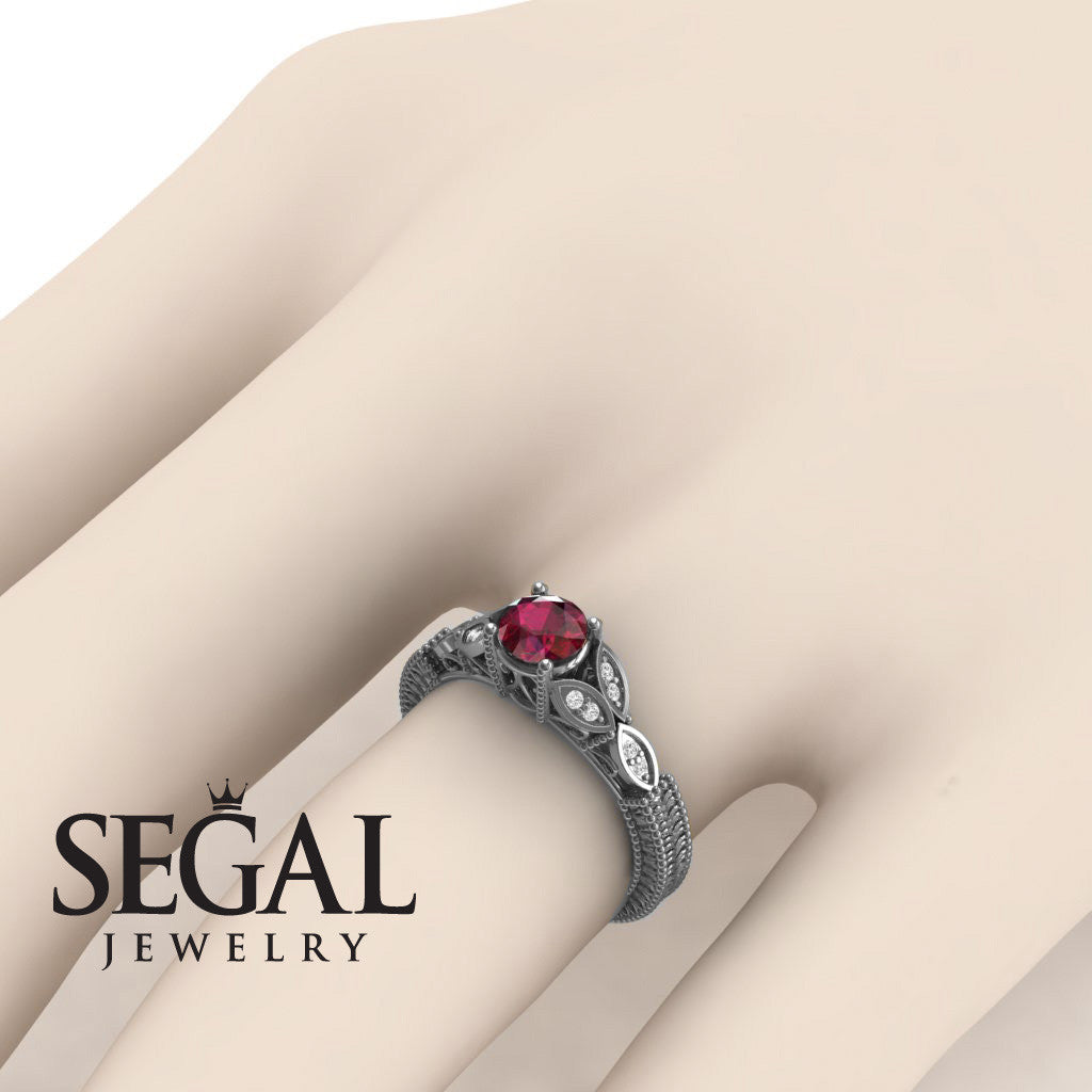 The Leaf Legend Ruby Ring- Adeline no. 12