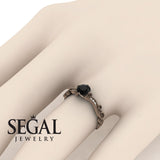 Painter's Muse - Vintage Style Black Diamond Engagement Ring - Sophie no. 8