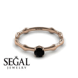 Solitaire Bamboo Black Diamond Ring- Charlotte no. 5