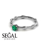 Solitaire Bamboo Green Emerald ring- Charlotte no. 15