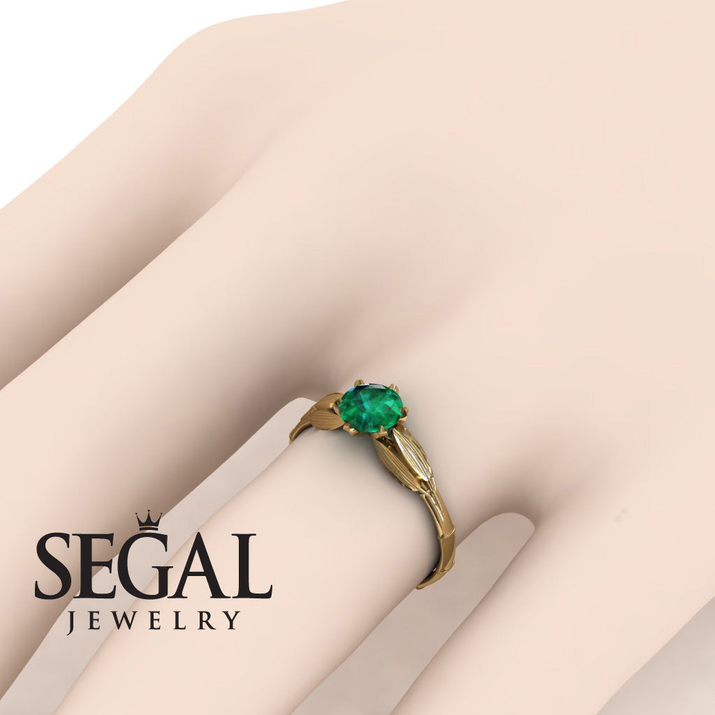 The Bamboo Dragonfly Green Emerald Ring- Lily no. 4