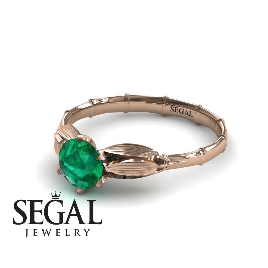 The Bamboo Dragonfly Green Emerald Ring- Lily no. 5
