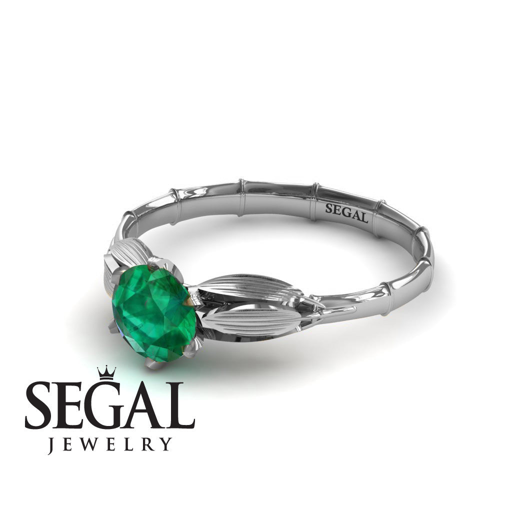 The Bamboo Dragonfly Green Emerald Ring- Lily no. 6