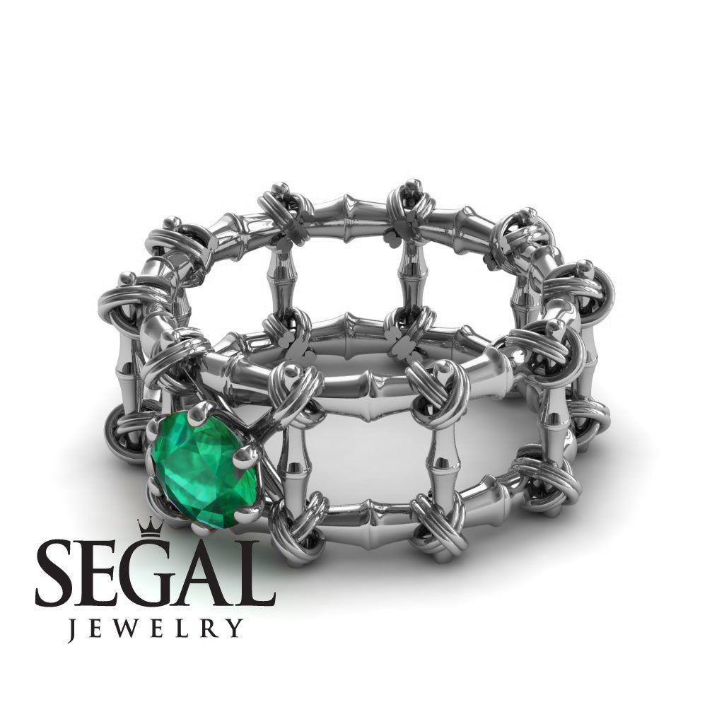 The Bamboo Power knot Green Emerald Ring- Sophia no. 6