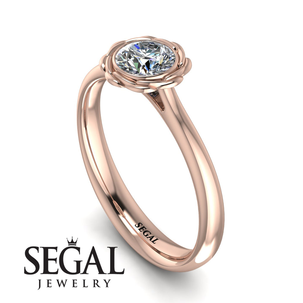 Solitaire Minimalist Rose Diamond Engagement Ring - Eden No. 2