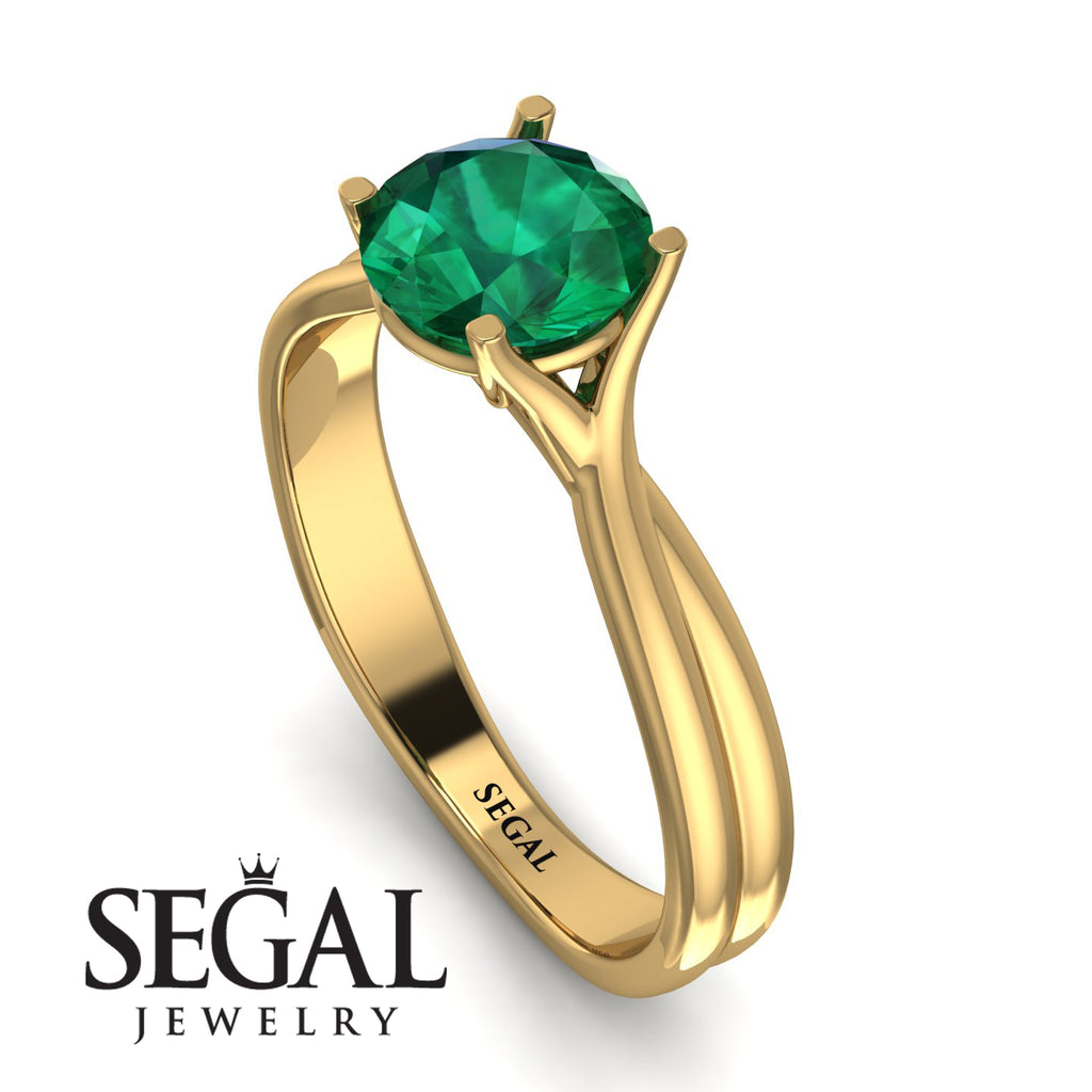 Solitaire Twist Shank Emerald Ring - Eleanor No. 4