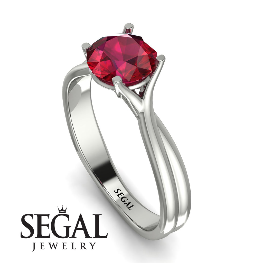 Solitaire Twist Shank Ruby Ring - Eleanor No. 12