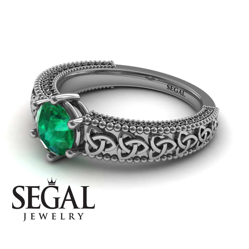 The Vintage Valknut Green Emerald Ring- Eliana no. 12
