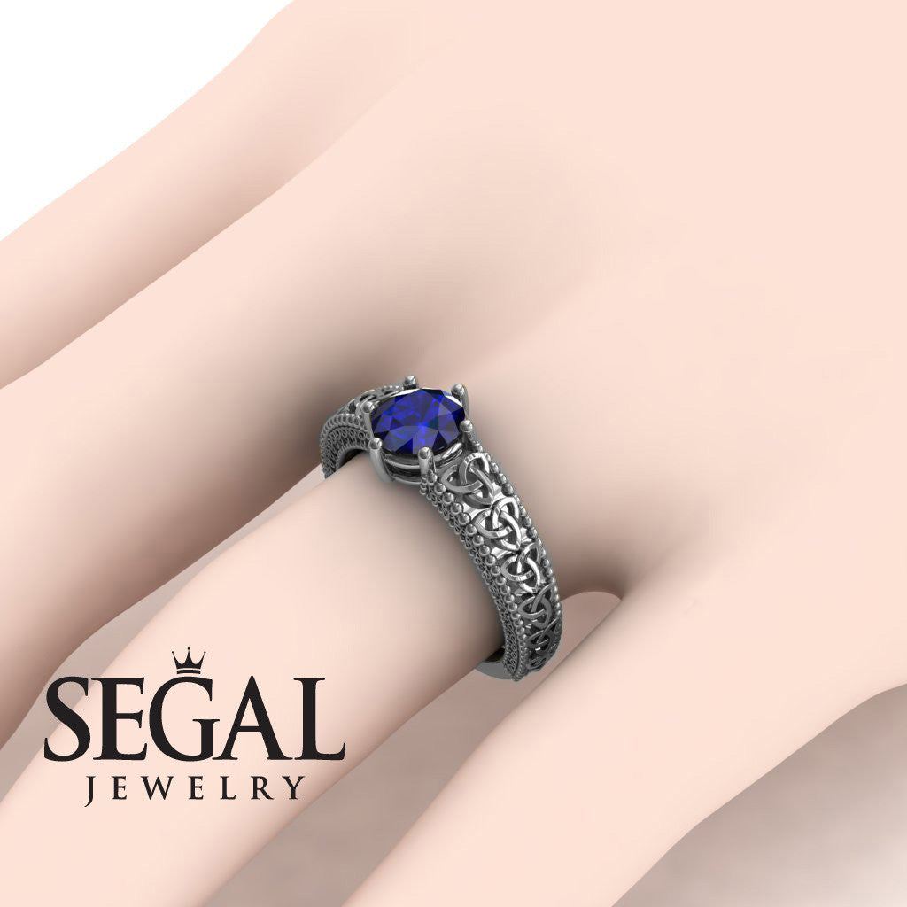 The Vintage Valknut Blue Sapphire Ring- Eliana no. 9