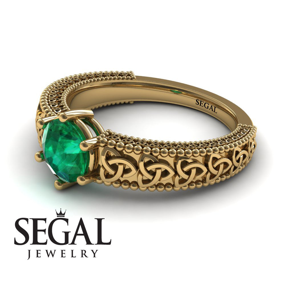 The Vintage Valknut Green Emerald Ring- Eliana no. 10