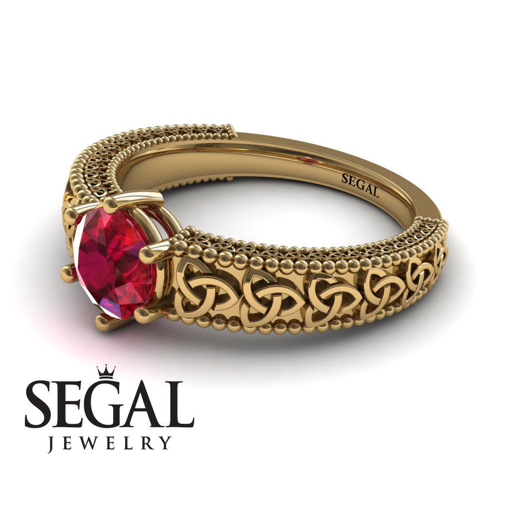 The Vintage Valknut Ruby Ring- Eliana no. 4