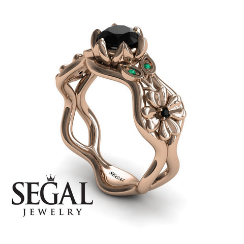 3 Stones Flower Cocktail Ring Black Diamond Ring- Kaylee no. 11