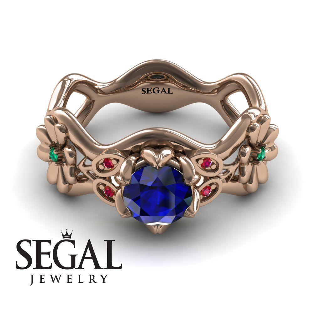 3 Stones Flower Cocktail Ring Blue Sapphire Ring- Kaylee no. 8