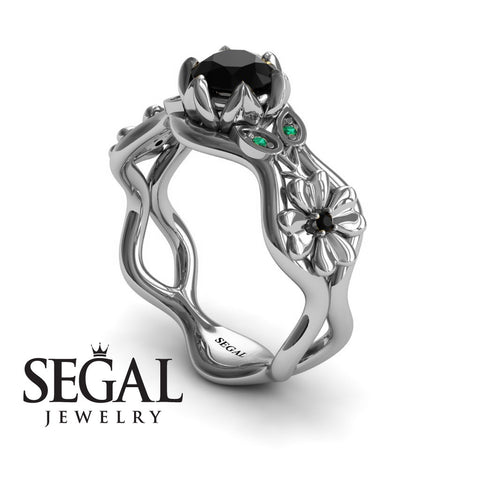 3 Stones Flower Cocktail Ring Black Diamond Ring- Kaylee no. 12