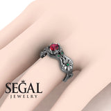 3 Stones Flower Cocktail Ring Ruby Ring- Kaylee no. 6