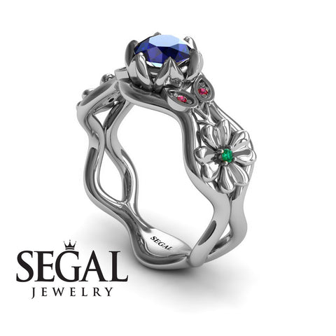 3 Stones Flower Cocktail Ring Blue Sapphire Ring- Kaylee noº 9