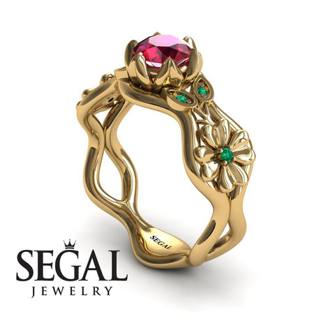 3 Stones Flower Cocktail Ring Ruby Ring- Kaylee no. 4