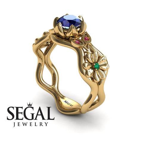 3 Stones Flower Cocktail Ring Blue Sapphire Ring- Kaylee noº 7