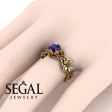 3 Stones Flower Cocktail Ring Blue Sapphire Ring- Kaylee no. 7
