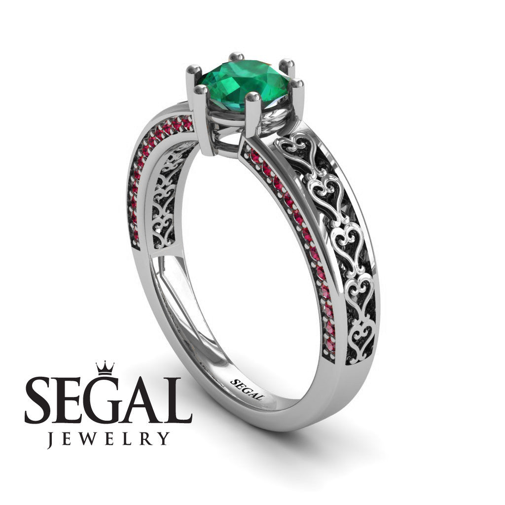 The Sparkling Hearts Green Emerald Ring- Caroline no. 9