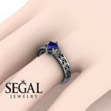 The Sparkling Hearts Blue Sapphire Ring- Caroline no. 12
