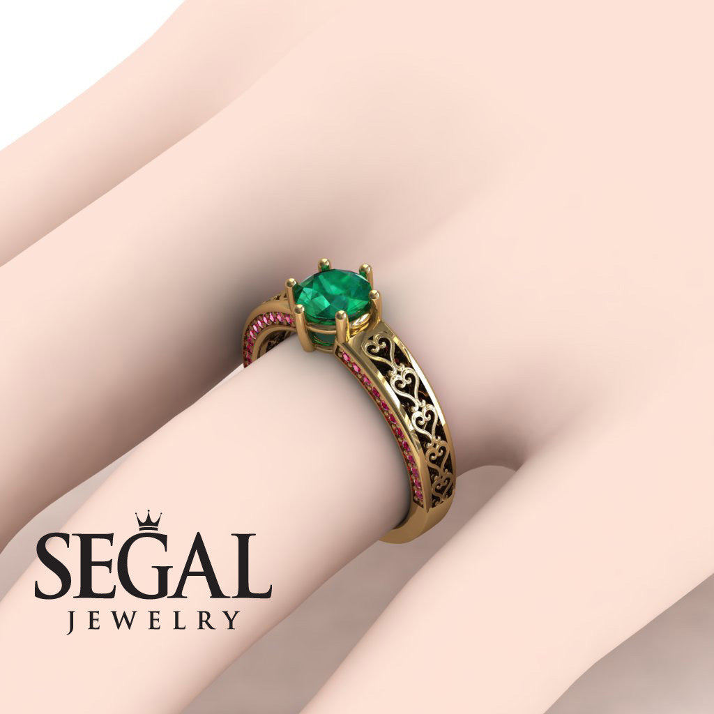 The Sparkling Hearts Green Emerald Ring- Caroline no. 7