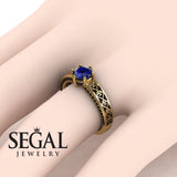 The Sparkling Hearts Blue Sapphire Ring- Caroline no. 10