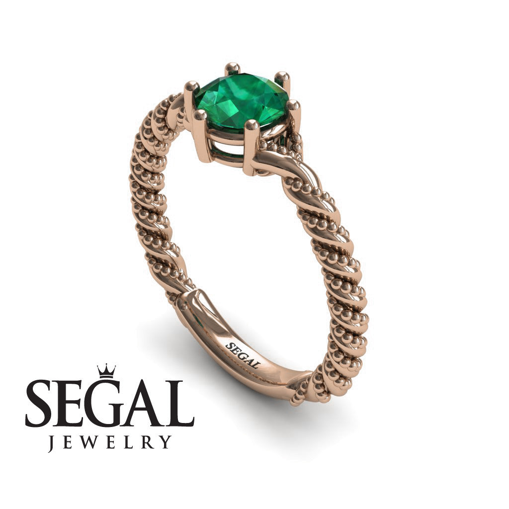 The Braid Ring Green Emerald Ring- Keira no. 5