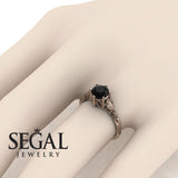 Art deco Leafs Structure Black Diamond Ring- Reagan no. 11