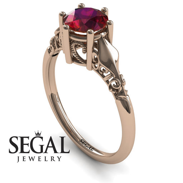 Art deco Leaves Structure Ruby Wedding Ring- Reagan no. 8